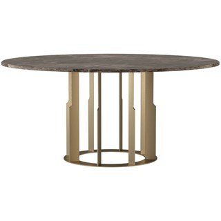 Touched D Gold Emperador Marble Top & Burnished Brass Round Dining Table