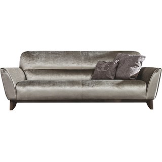 Touched D Maple Upholstered Burnished Brass Sofa