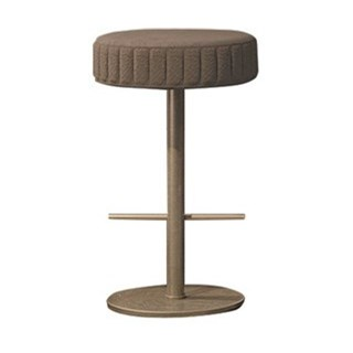 Touched D Round Upholstered Leather & Burnished Brass Bar Stool
