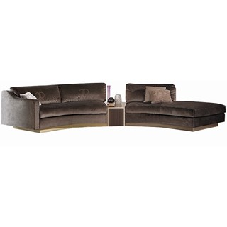 Touched D Upholstered Modular Curved Roxana Sofa With Upholstered Drawer