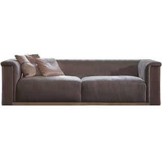 Touched D Upholstered Walnut & Burnished Brass Sofa