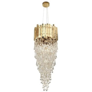 Tower Gold Plated Brass & Crystal Glass Chandelier