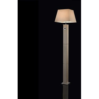 Traveler Narrow Nickel Brass & Leather Floor Lamp