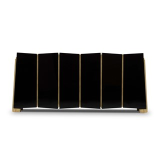 Polished Brass, Black Lacquer Trevi Sideboard   Touched Interiors