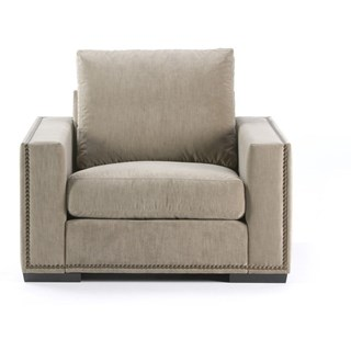 Upholstered Button Stud Detail Plush Velvet Natural Armchair