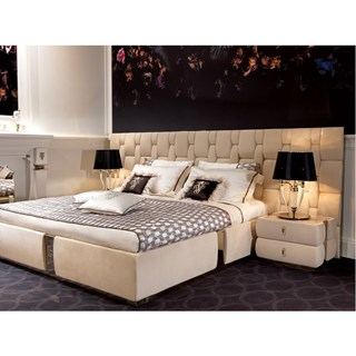 Upholstered Quilted & Polished Stainless Steel Italian Bedstead