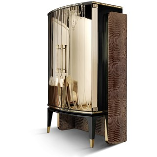 Valentine Mirrored Leather Italian Bar Cabinet