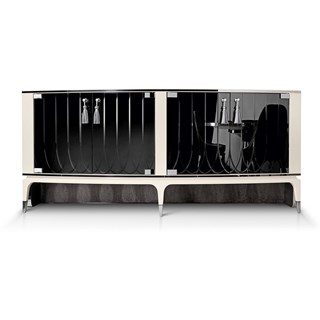 Valentine Mirrored Leather Italian Sideboard