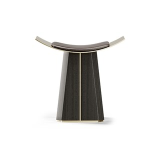 Vaso Walnut, Leather & Polished Brass Stool