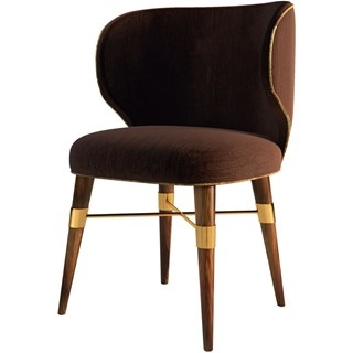 Hamstead Velvet Upholstered Walnut & Brass Dining Chair