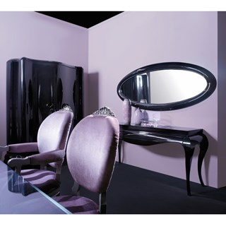 Venezia black gloss oval mirror with strass