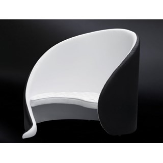 Luxuy Upholstered Black & White Curved Love Seat