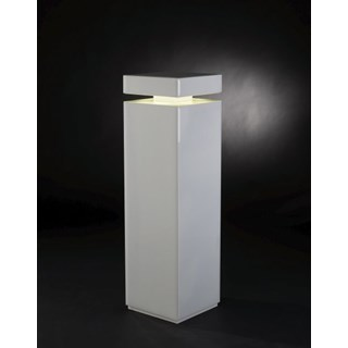 Luxury LED Illuminated White Glass Column