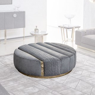Round Upholstered Vittoria Quilted Ottoman | Touched Interiors
