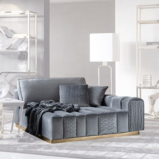Square Upholstered Vittoria Quilted Ottoman | Touched Interiors