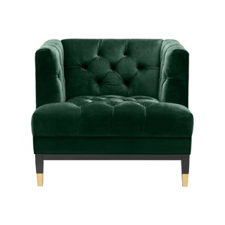 Winston Deep-Buttoned Armchair with Golden Legs | Touched Interiors