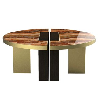 Brushed Brass & Marble Zaifa Coffee Table | Touched Interiors