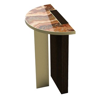 Brushed Brass & Marble Zaifa Side Table | Touched Interiors