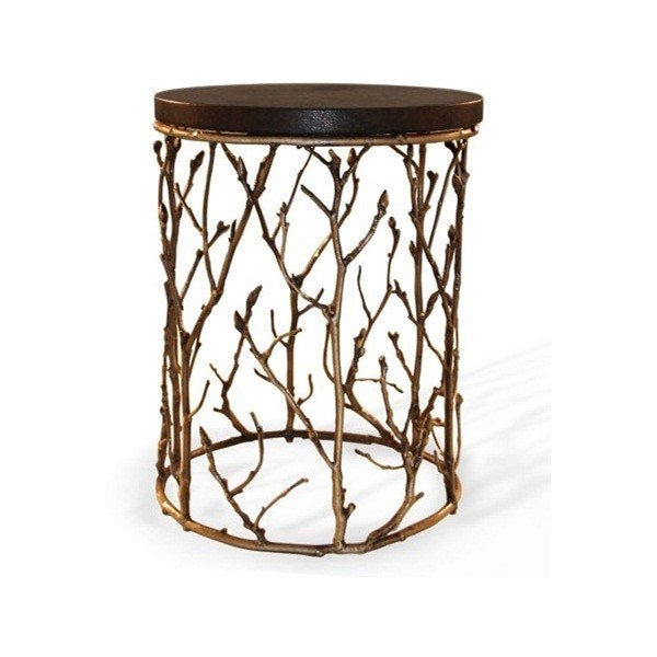 Luxury antique gilded bronze and wood top side table