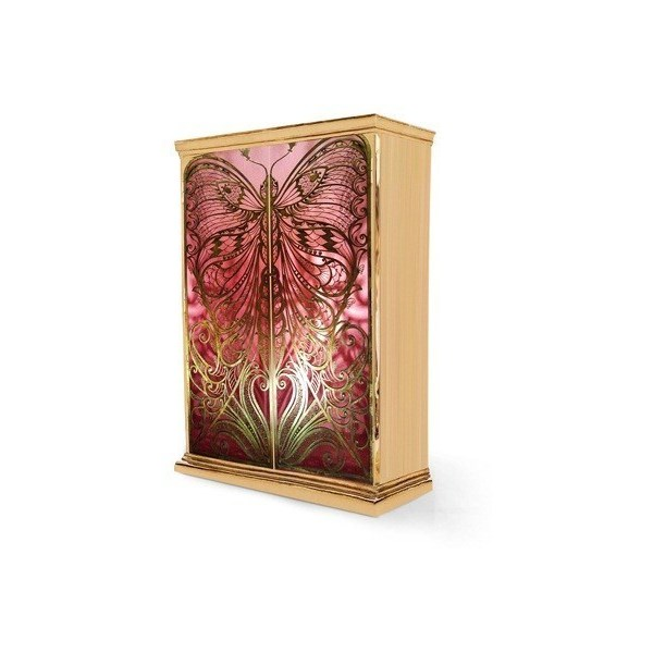 Luxury butterfly silk lining and polished brass armoire