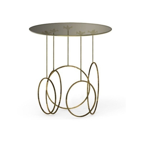 Luxury Glass Top Brass Side Table