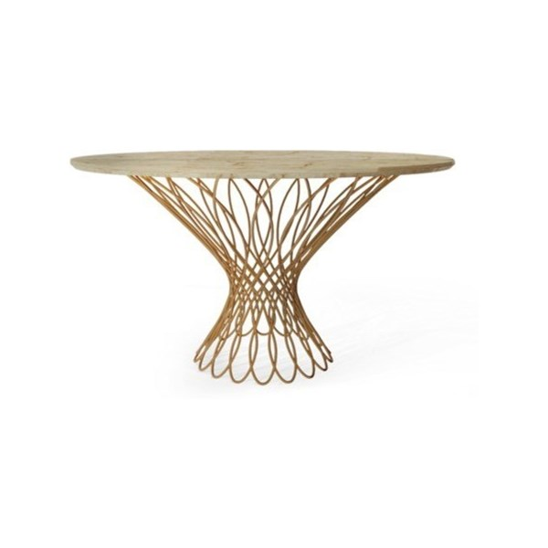 Luxury woven brass and bronze glass top round table