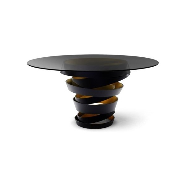 Luxury matte black metal swirl and metallic interior round table