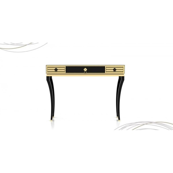 Impressive console in a lacquered wood finish with gold plated knobs