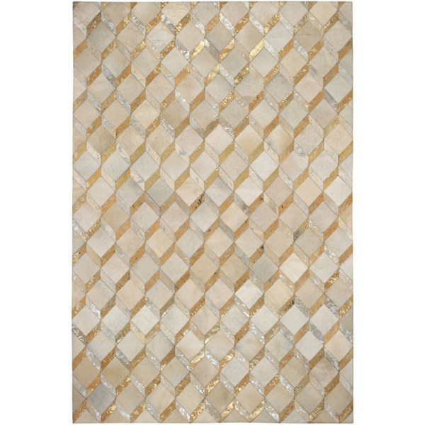 100% Leather Cream, Metallic Gold And Silver Diamond Rug