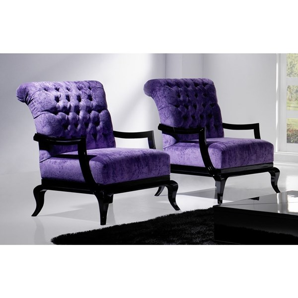 Tufted purple and black frame regal armchair