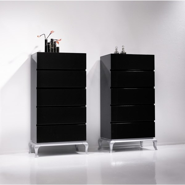 Black and silver chest of 5 drawers