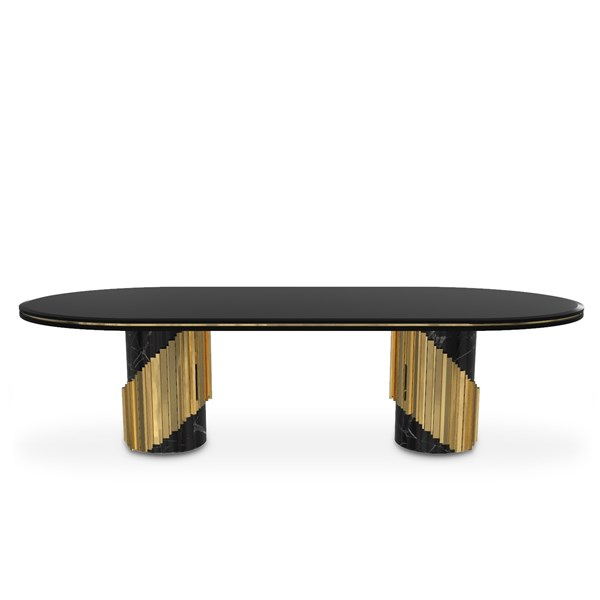 Polished Brass, Black Lacquer, Marble Nero Marquina Oval Dining Table