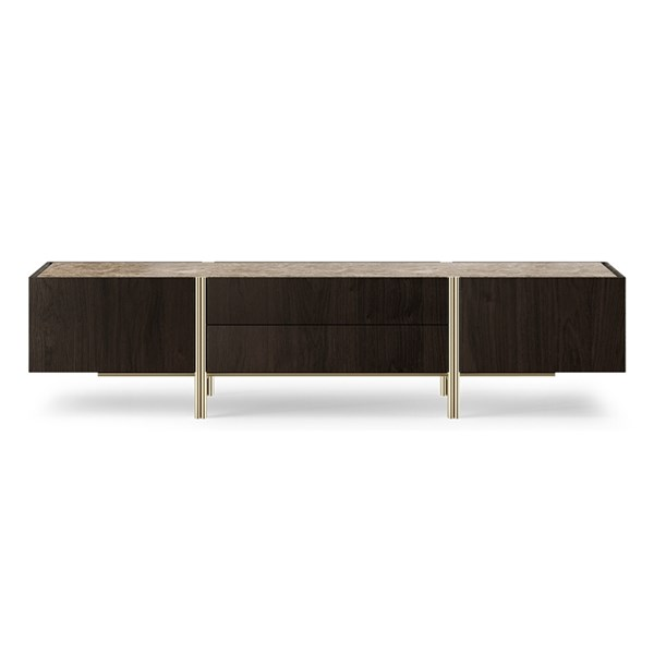 Adele Emperador Marble and Aged Brass TV Cabinet