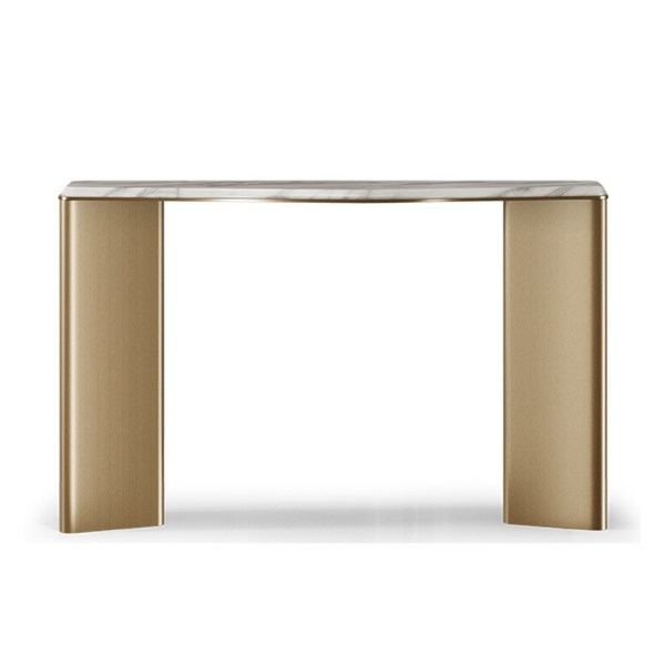 Alta Aged Brass & Carrara Marble Console