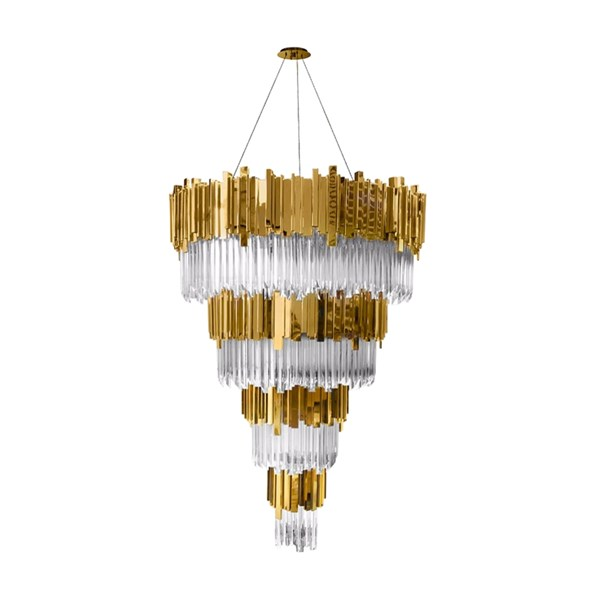 Ancona Grande Gold Plated Brass & Crystal Glass Chandelier