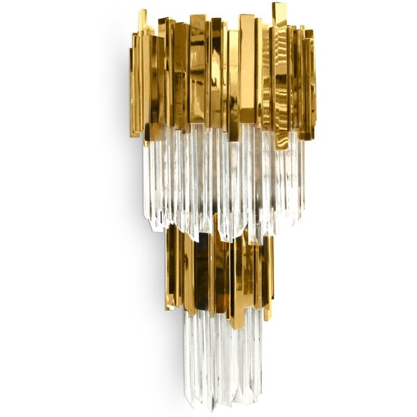 Ancona Grande Gold Plated Brass & Crystal Glass Wall Light