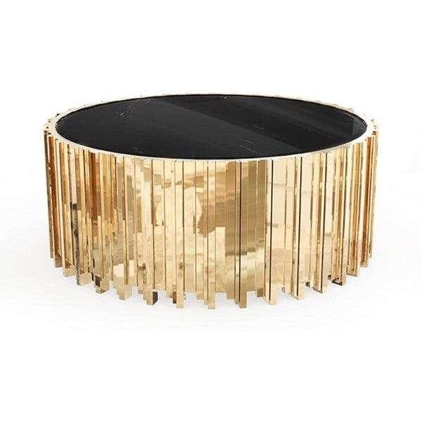 Ancona Grande Gold Plated Brass & Nero Marquina Marble Centre Table