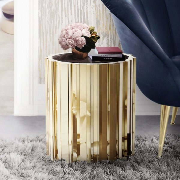 Ancona Grande Gold Plated Brass & Nero Marquina Marble Side Table