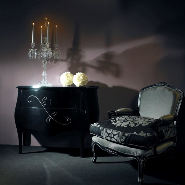 Black gloss antique chest with 2 drawers with strass bead