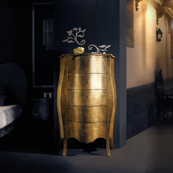Gold leaf tall antique chest with 5 drawers