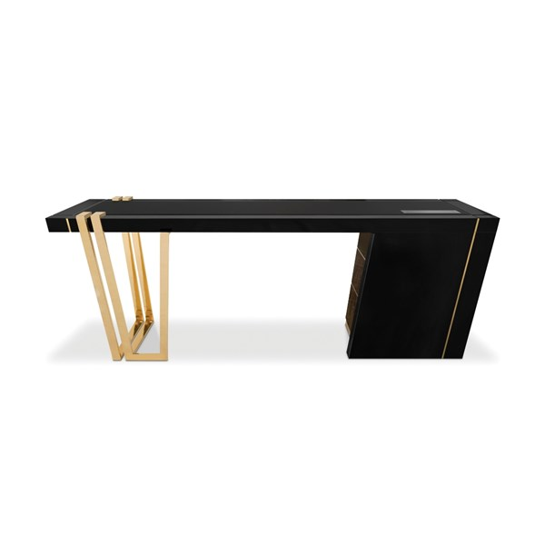 Atherton Luxury Leather, Polished Brass & Walnut Root Desk