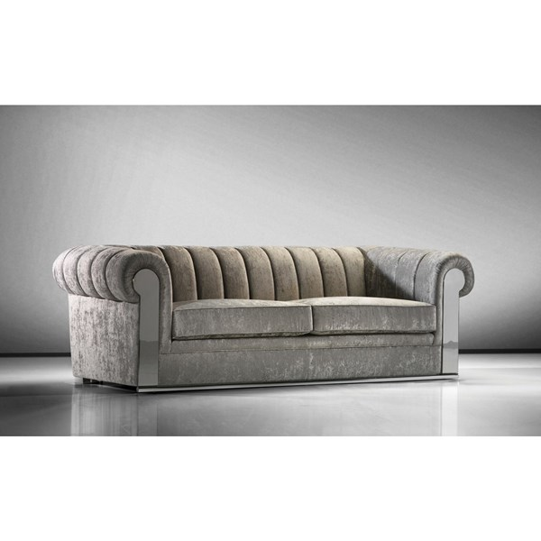 Athos Polished Steel and Upholstered Plush Velvet Taupe Chesterfield Sofa