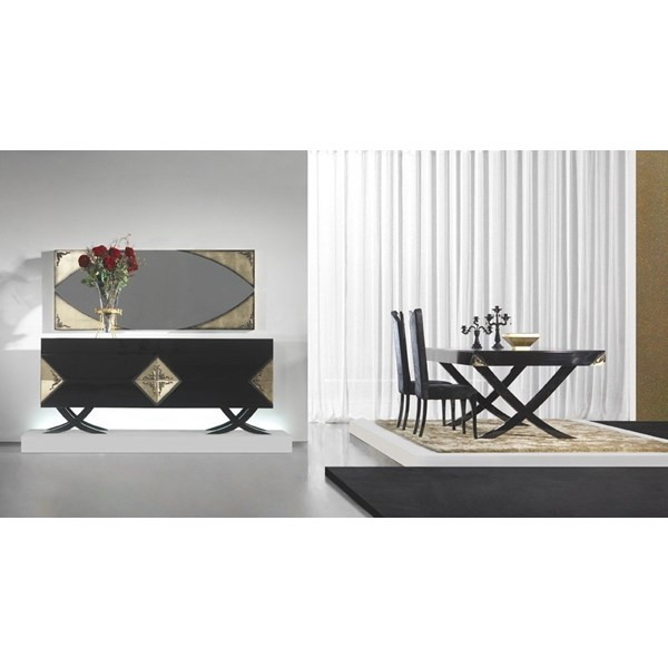 Luxury black gloss and antique gold leaf dining set