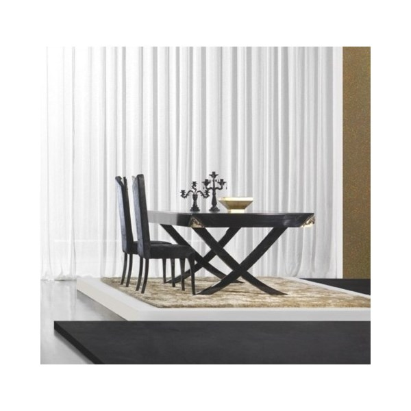 Luxury 210 cm black gloss and antique gold leaf dining table