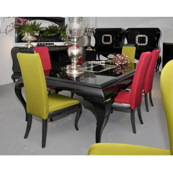 High back glossy lead and lime yellow fabric dining chair with carving