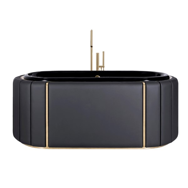 Black Stitched Leather & Golden Brass Luxury Bathtub
