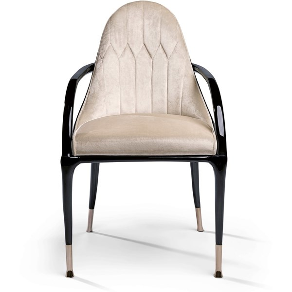 Blossom Upholstered Lacquered Chrome Italian Chair