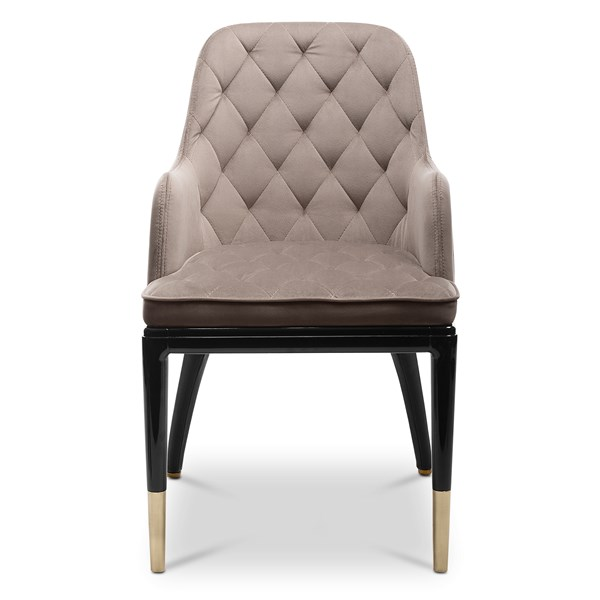 Brass, leather & Velvet stitched modern dining chair