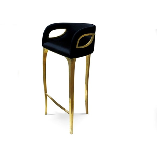 Brass Detailed Opulent Velvet Bar Stool