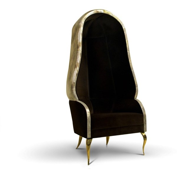 Brass Detailed Plush Velvet Bonnet Inspire Chair